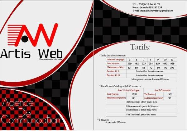 Tarifs ArtisWeb