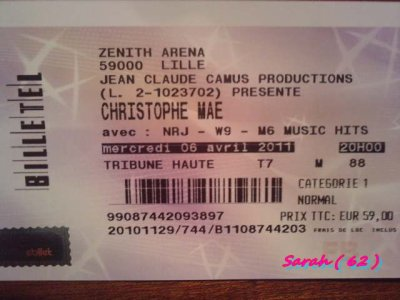 Mes Places de Concert Pour le 06 Avril 2011 =)