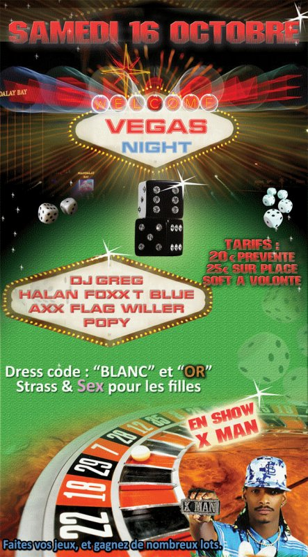VEGAS NIGHT AVEC DJ GREG HALAN BLUE FOXX T AXX WILLER FLAG POPY