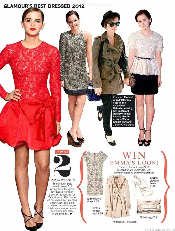 . ● Emma parle à propos de ses secrets et règles de beauté pour Glamour UK. .