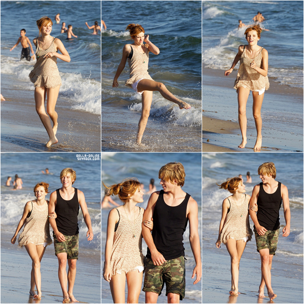 Bella et Tristan a la plage de Santa Monica a Los Angeles ce samedi 28 juillet 2012. Un top.