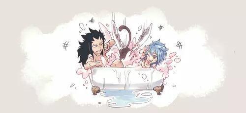 Dans le bain.