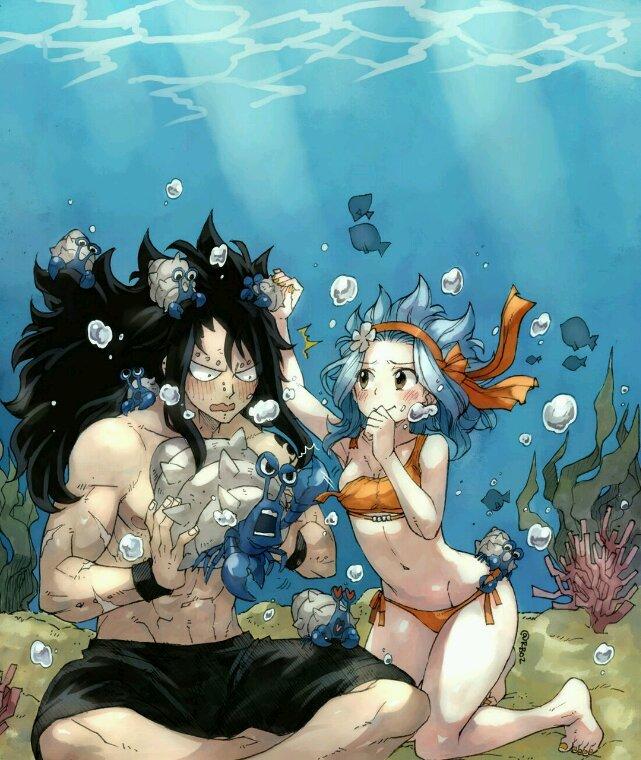 Sous l'eau.