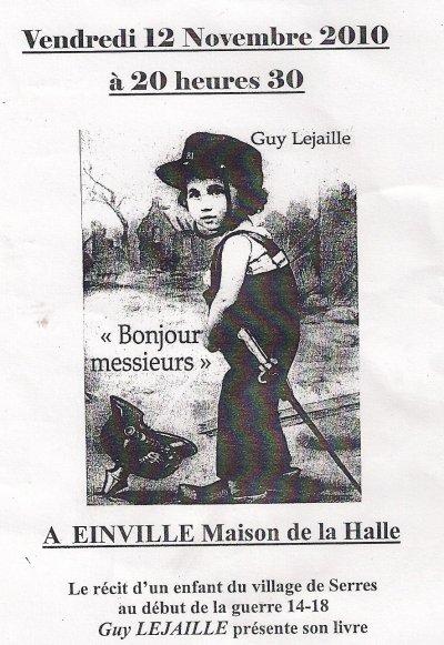 Vendredi 12 novembre, Guy LEJAILLE présente son livre...