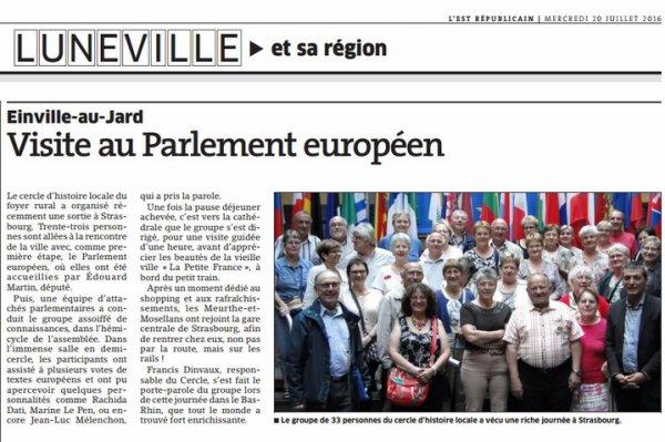 VISITE AU PARLEMENT EUROPEEN