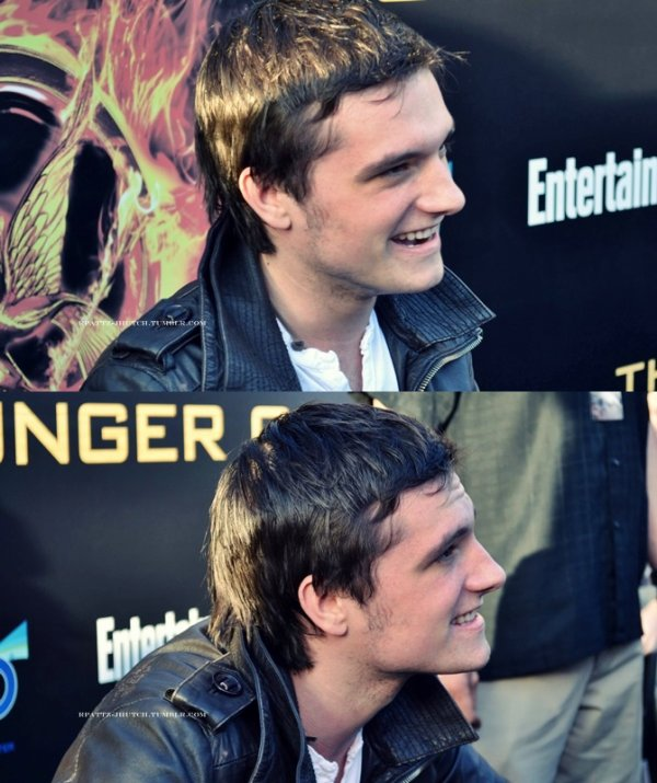 "New/old photos de Josh lors de la visite surprise du cast de ""The Hunger Games"" au Fan-Camp de la Première du film à Los Angeles (Mars 2012)."