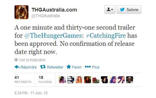 """Un nouveau trailer de """"Catching Fire"""" annoncé !!!"""