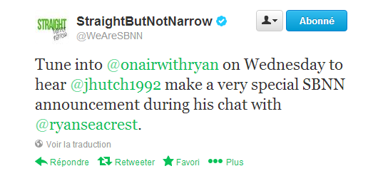 Annonce de Josh pour SBNN (Straight But Not Narrow).
