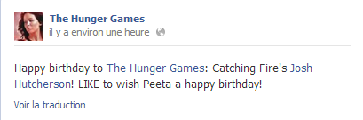 "La page Facebook offcielle de ""The Hunger Games"" souhaite un Happy B-Day à Josh."