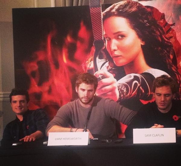 """Conférence de presse de """"Catching Fire"""" à Londres (11-11-2013)."""