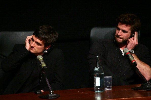 """Conférence de presse de """"Catching Fire"""" à Rome (14-11-2013)."""