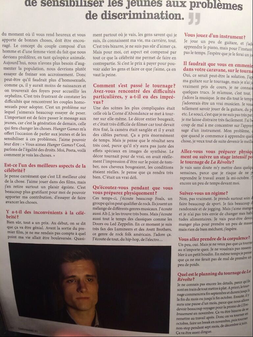 "Scans de l'interview de Josh avec le magazine ""Cinemaniac""."