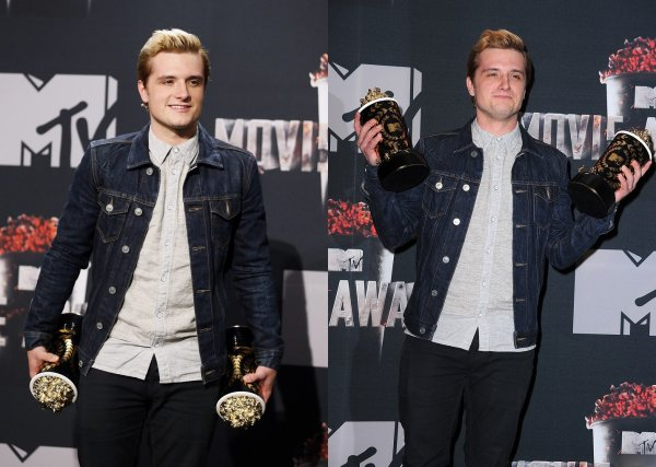 "Josh dans la Press Room des ""MTV Movie Awards 201"" (Los Angeles 13-04-2014)."