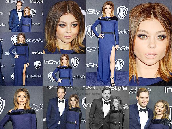 08/01/17 • Sarah Hyland était à l'événement des Golden Globes qui se déroulent au Beverly Hilton. + notre belle était en compagnie de son petit copain, Dominic Sherwood avec qui elle s'est accordé -vêtements-.