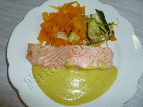 Pavé de saumon, sauce légumes et soupe de légumes au thermomix