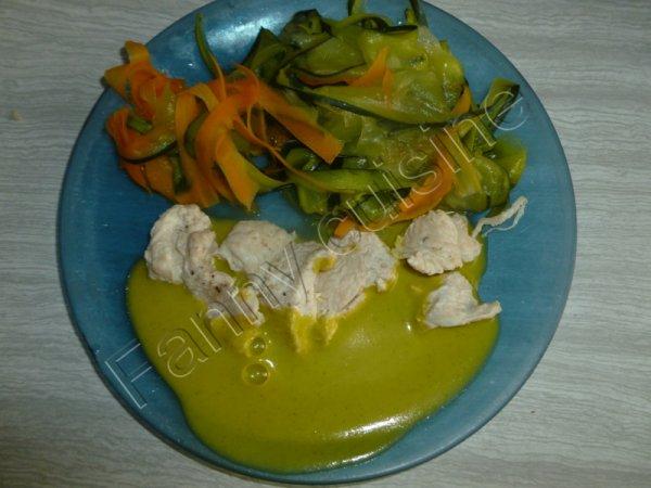 Blanc de poulet, tagliatelles de légumes, et sauce aux légumes au thermomix