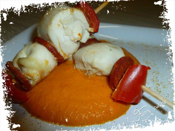 Velouté de poivron a la feta, semoule aux légumes, brochettes de poisson ou de poulet au chorizo au thermomix