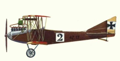 Avions militaires 14/18 autrichien Vue et plans d'un Llyod C.II (1915).