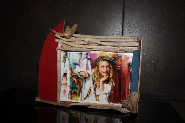 Cadre photo avec bois flotté