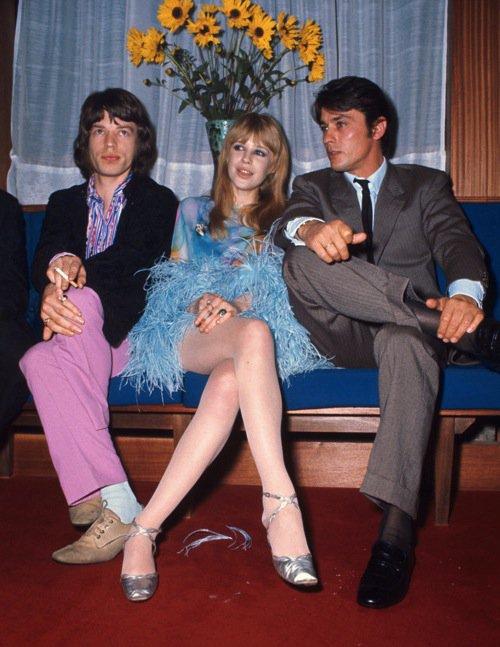 Mick Jagger, Marianne Faithfull & Alain Delon