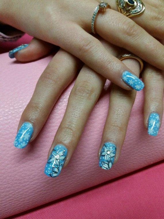 Fleurs..pailletes ..nail art