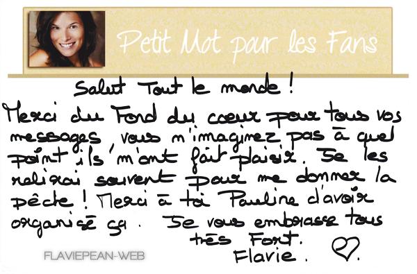 __________ + Réponse de Flavie à la 1ère Opération Fans (reçue le 04.09.2012) ♥