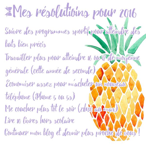 Mes résolutions de 2016