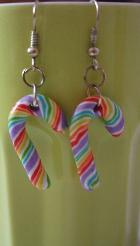 Boucle d'oreille sucre d'orge multicolore