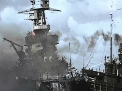 La flotte américaine incendier par les japonais