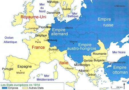 carte europe 1ere guerre mondiale