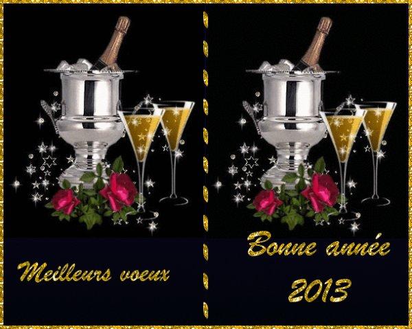 à tous mes amis (es) meilleurs v½ux de bonheur pour cette nouvelle année 2013 qu'elle soit pour vous synonyme de bonheur et de prospérité et santé ,Bien sincèrement votre ami christophe et sa petite famille!!!! un trés bon réveillon bisousss!!!!