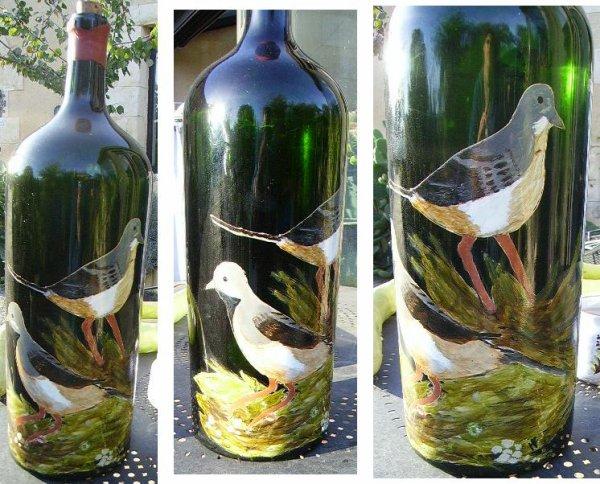 Peinture sur verre bouteille mes oeuvres - Peindre des verres a pied ...