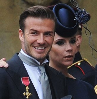 Victoria Beckham et David Beckham au Mariage de Catherine Middelton et William de Galle.