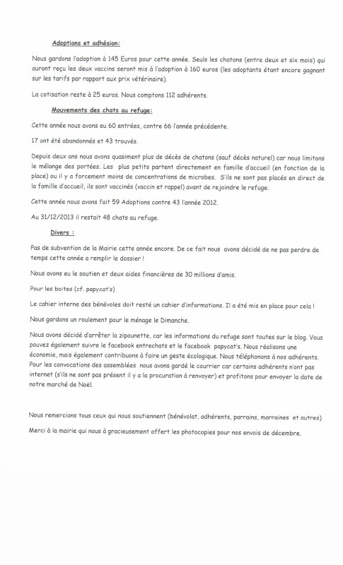 """COMPTES RENDUS ASSEMBLEES GENERALES du 26 janvier 2014  """"refuge Papycats"""" et """"refuge Entrechats"""""""