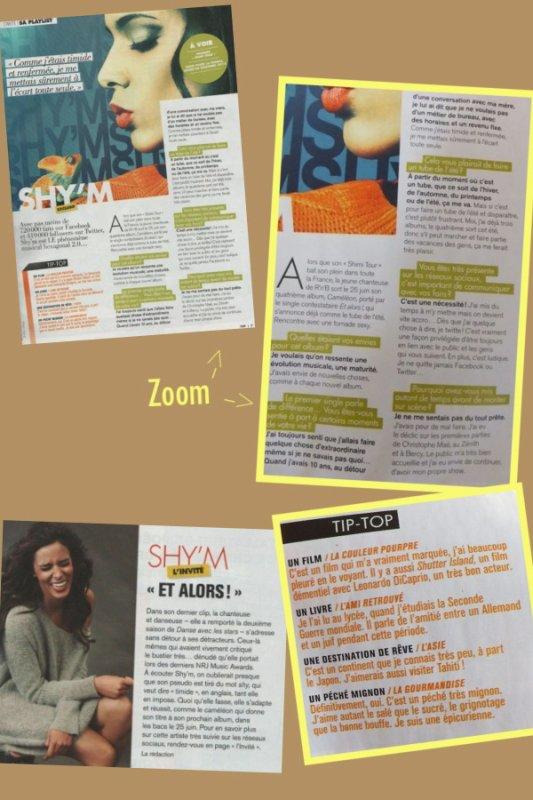 ||•Shy'm fait la première page du magasine«Top»•||•Tenues•||•informations•||