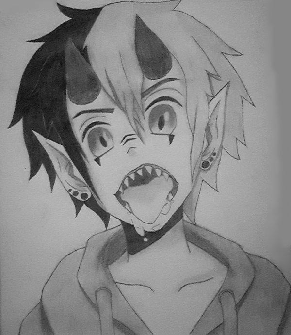 Demon boy drawing