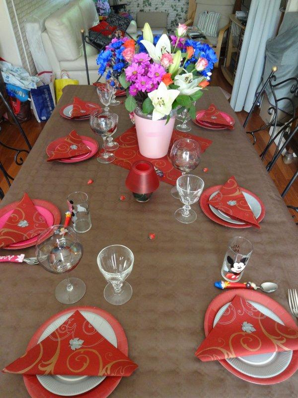 mes tables d'anniversaire et oui j'ai recu en deux fois  la famille puis des amis