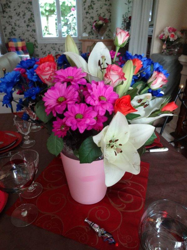 les fleurs recues lors de mon anniversaire et de celui de mon mari