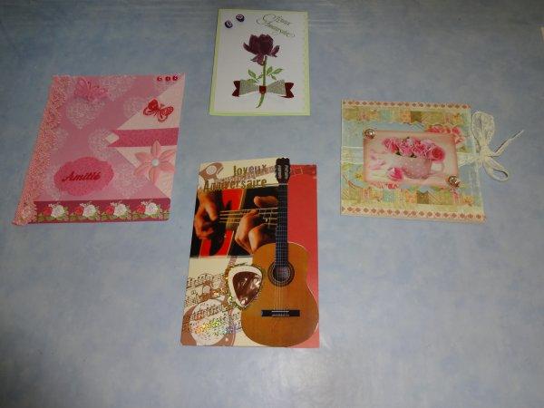 des cartes recues pour mon anniversaire  et celui de mon mari merci à celles qui m'en ont envoyé