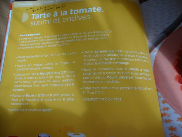 la recette  tarte à la tomate   ma pate etait sans gluten et j'ai pas mis d'aneth alors ca a changé un peu le gout