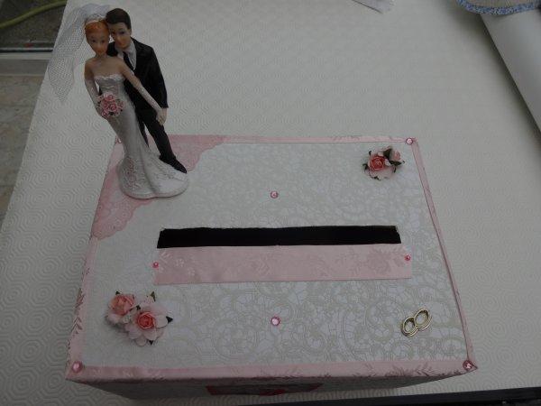 la boite demandée avecles couleurs et le style de la mariée (dentelle)