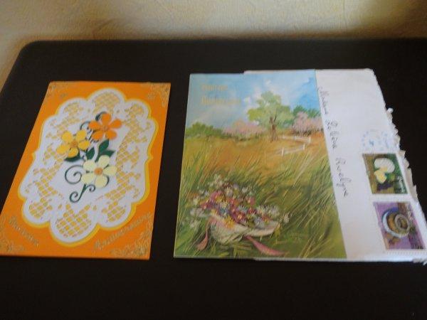 une atc muguet que je viens de finir   et deux jolies cartes recues   merci encore