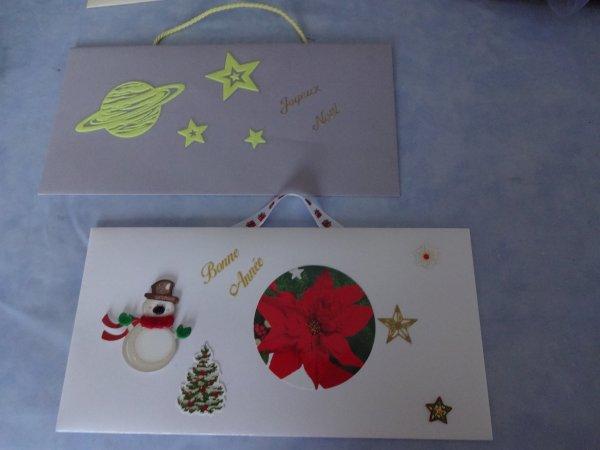 mes cartes cadeaux chèque, certaines peuvent etre mises dans un sapin de noel, certaines sont fluorescentes