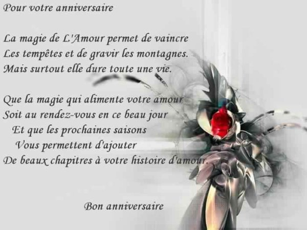 Merci pour notre anniversaire de mariage 41ans, et merci pour le mot,