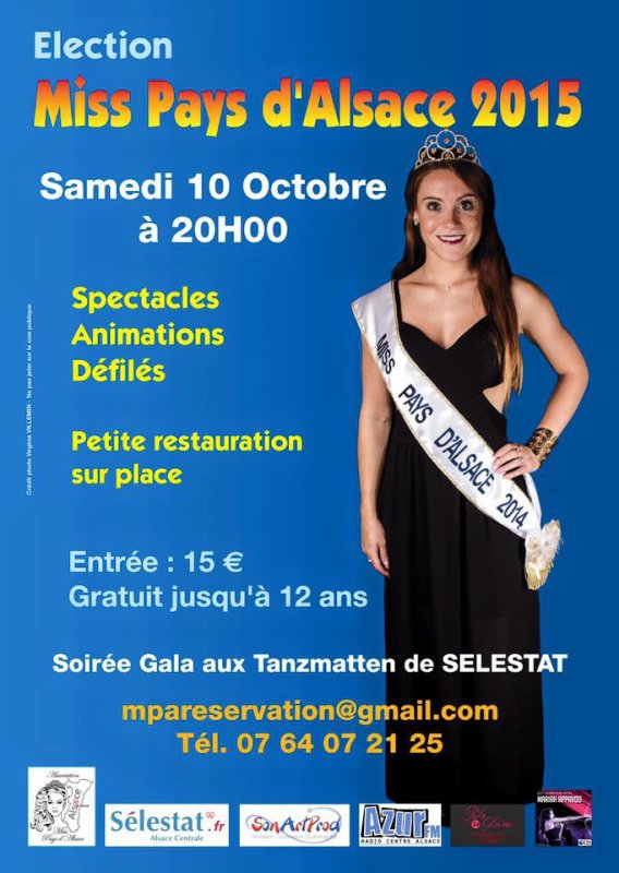 Miss Pays d'Alsace 10 Octobre 2015 à  SELESTAT