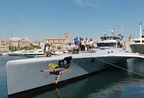 "Sea Shepherd : un trimaran à l'effigie de la star ""Brigitte Bardot""."
