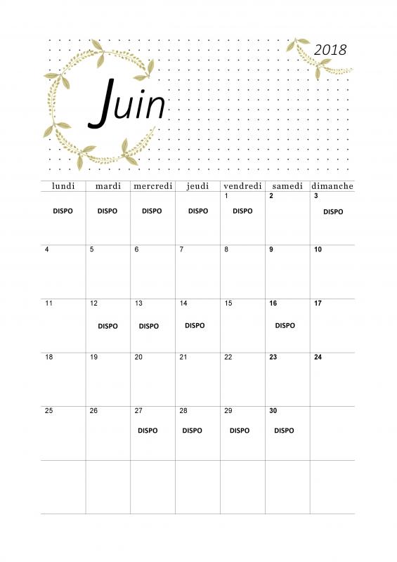.. MES DATES DISPOS POUR LE MOIS DE JUIN  2018 ..