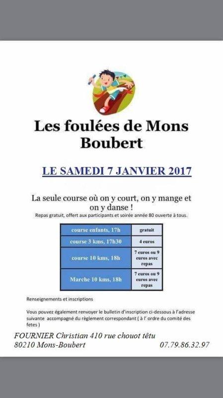 les foulées de Mons Boubert , samedi 7 janvier 2017 , Somme ...