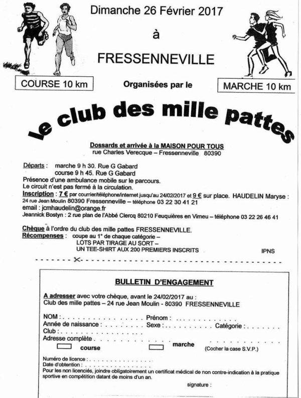 course de 10 km des Milles Pattes de Fressenneville , dimanche 26 février 2017 , Somme ...