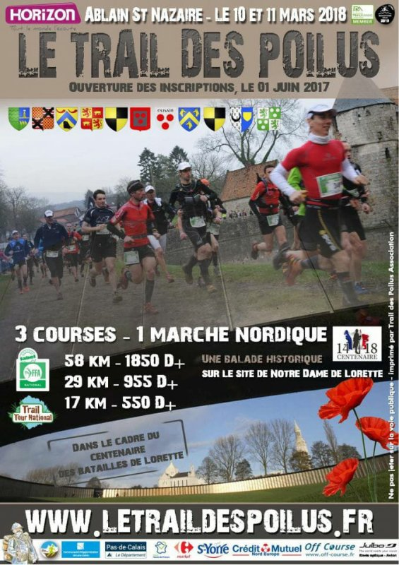 trail des poilus , samedi 10 mars 2018 , Notre Dame de Lorette , Pas-de-Calais des Hauts de France ...
